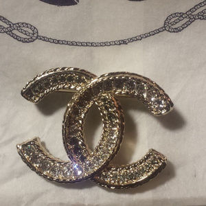 Chanel CC crystal brooch, light gold.